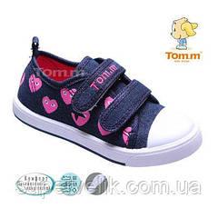 Кеды для девочки Tom.m синий джинс в розовые сердечки р-ры 25,26,27,28,29,30