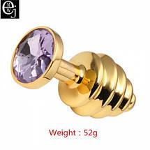 Анальная пробка золотая Flexy Gold Crystal Plug, фото 3