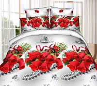Постельный комплект ранфорс свадебный красные розы букет на белом сером бусы кольца