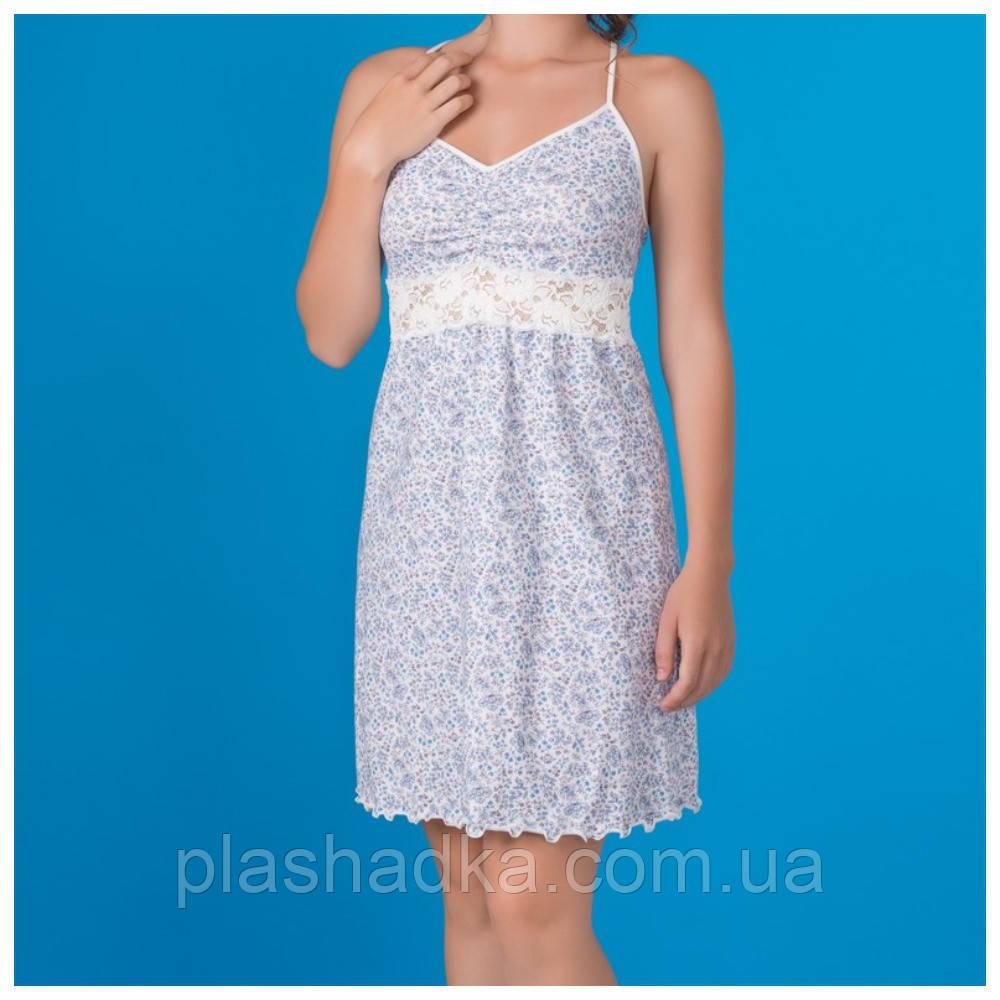 Женская ночная сорочка в цветочный принт, василек+шампань