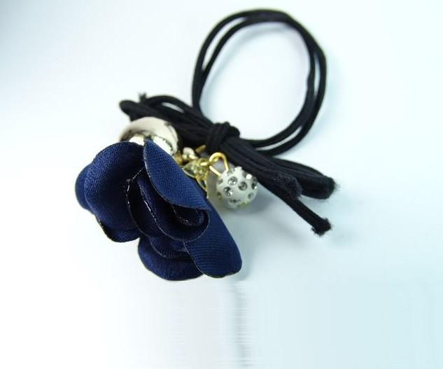 Резинка текстиль Цветок и шамбала синяя