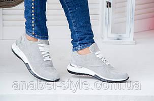 Кроссовки женские стильные из натуральной замши серого цвета шнуровка Код 1391 AR, фото 2
