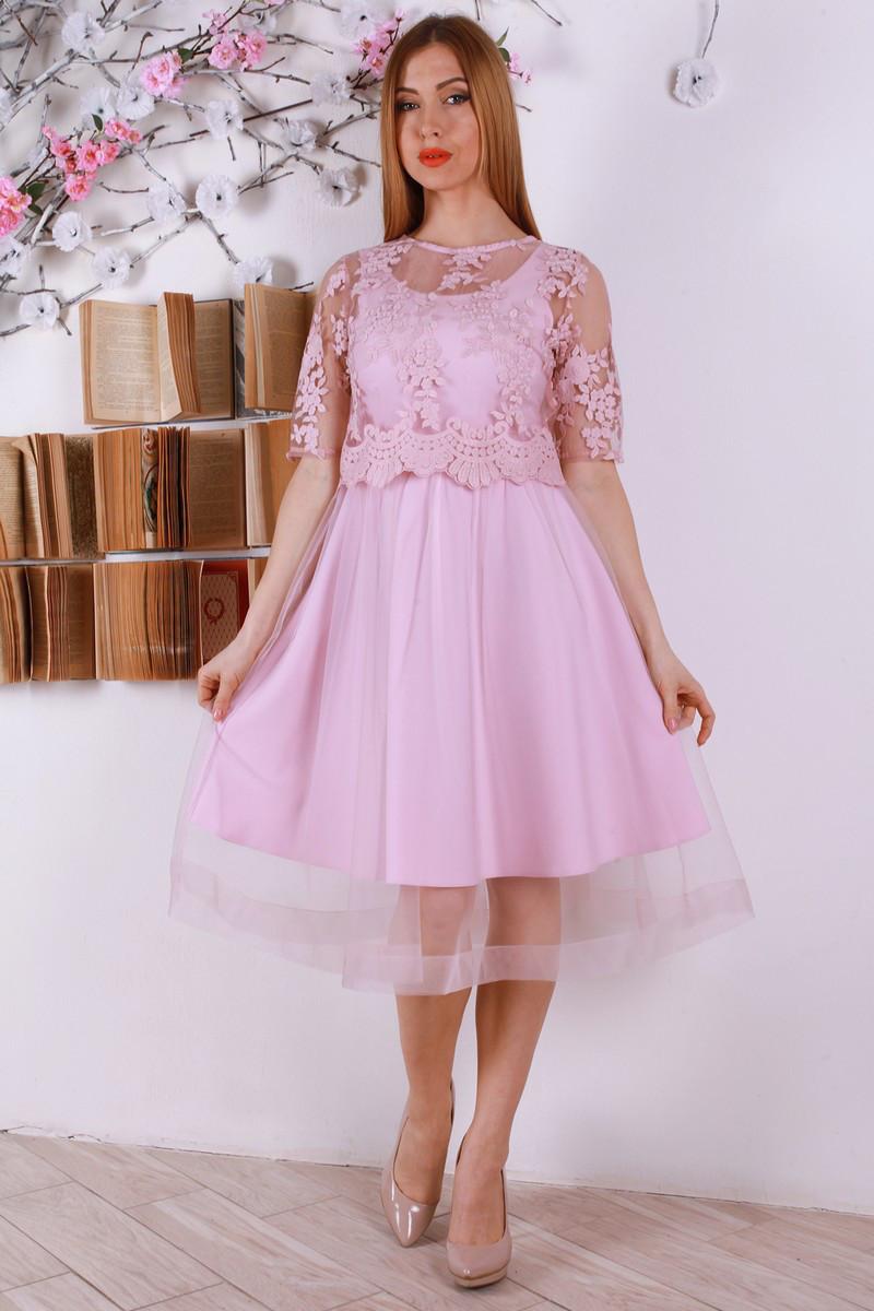 Нежное весеннее платье с евросеткой и вышивкой 46-50