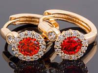 Серьги, с позолотой и родиевым покрытием, красный камень,, размер 20х7 мм