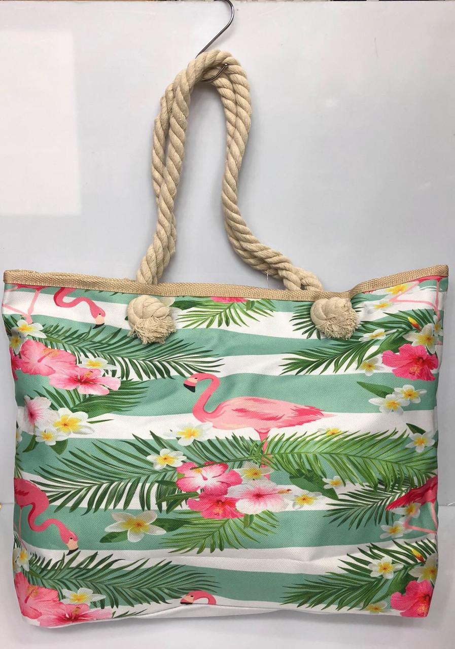 Пляжная сумка на канатах Фламинго