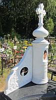 Мраморный памятник с куполом и крестом №80