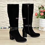 Сапоги черные зимние замшевые женские на устойчивом каблуке, декорированы ремешками., фото 2