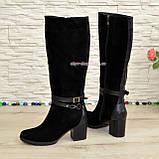 Сапоги черные зимние замшевые женские на устойчивом каблуке, декорированы ремешками., фото 3