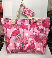 Пляжная сумка на канатах  Розовый фламинго
