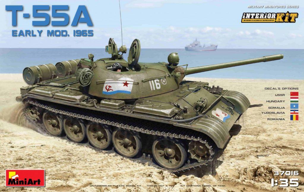 Средний танк Т-55А образца 1965 г., ранний с интерьером. 1/35 MINIART 37016