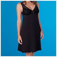 Женская ночная сорочка однотонная, черный, фото 1