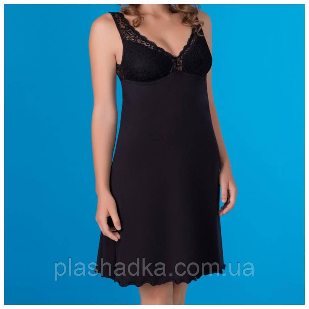 Женская ночная сорочка однотонная, черный