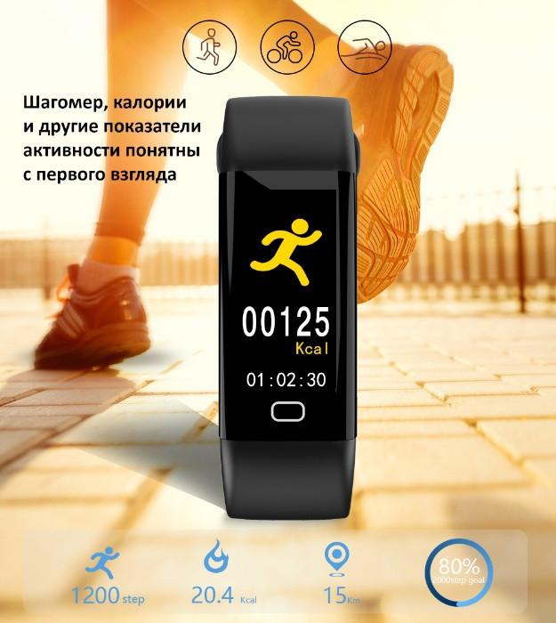 Фитнес-браслет с тонометром F07 Black ip68