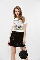 """Хлопковая женская футболка """"Велосипед"""" с принтом и камнями (2 цвета)"""