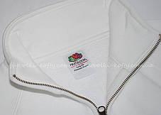 Женская премиум толстовка на замке без капюшона Белая Fruit Of The Loom 62-116-30 XS, фото 2