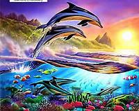 """Алмазная вышивка размер изображения 40х30 - набор """"Дельфины - 2"""""""
