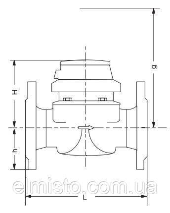 Габаритні розміри лічильників для гарячої води Сенсус .WPD FS розріз