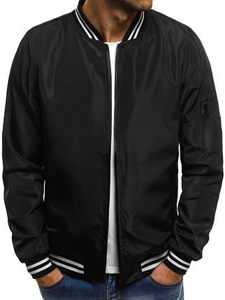 Куртка-бомбер мужская весна\осень (черный), фото 2