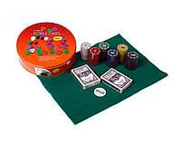 Покерный набор на 120 фишек в круглой металлической коробке №120т