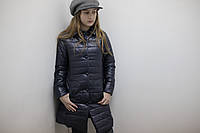 Пальто для девочки стеганое Лукас синее на пуговках