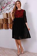 Платье-трапеция, украшенное евросеткой с набивкой