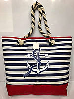 Пляжная сумка  на канатных ручках с красным дном Якорь