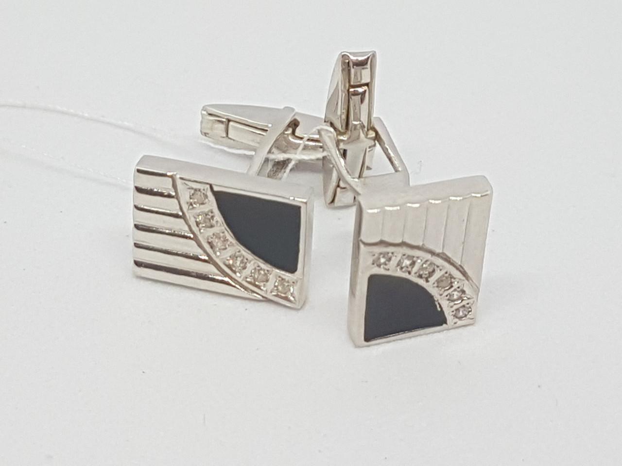 Срібні запонки з фіанітами і емаллю. Артикул 8610р