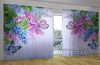Панорамная фотоштора Сирень и бабочки