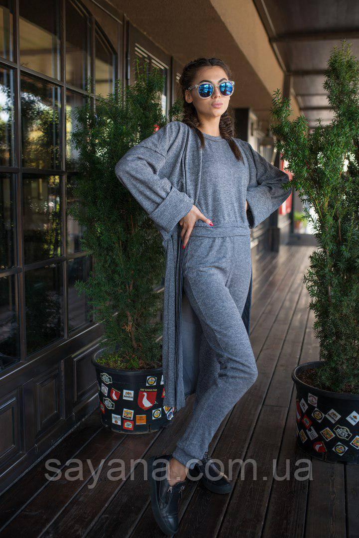 Женский костюма 3-ка: штаны, кофта, кардиган в расцветках. ВФ-6-0817