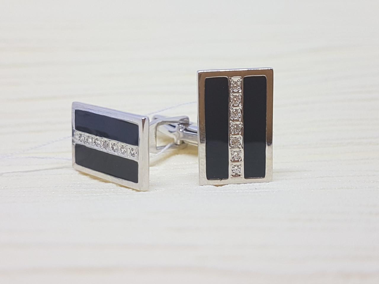 Серебряные запонки с фианитами и эмалью. Артикул 8614р