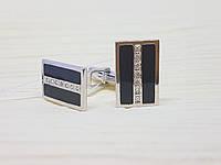 Серебряные запонки с фианитами и эмалью. Артикул 8614р, фото 1
