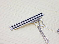 Серебряный зажим для галстука с фианитами и эмалью. Артикул 9614р, фото 1