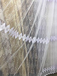 Тюль из фатина с вышивкой, код-304