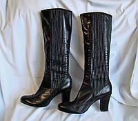 Сапоги женские демисезонные кожаные высокие черные Clarks (Размер 41)