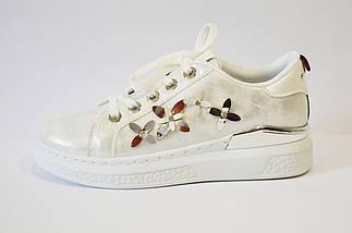 Кроссовки серебристые с цветами Sopra 02, фото 3