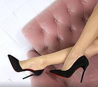Туфли лодочки Marie черные замшевые на шпильке с открытой стопой
