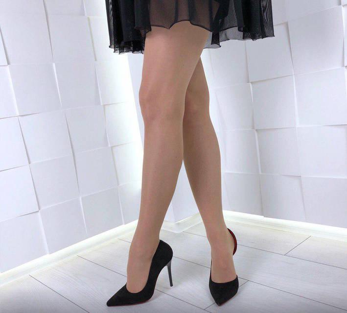 Туфли лодочки черные замшевые с открытой стопой, фото 2