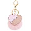Брелок меховой помпон с сердцем розовый, фото 2