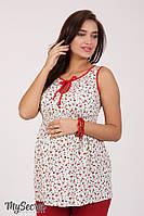Блуза-туника для беременных и кормящих бордовые цветы