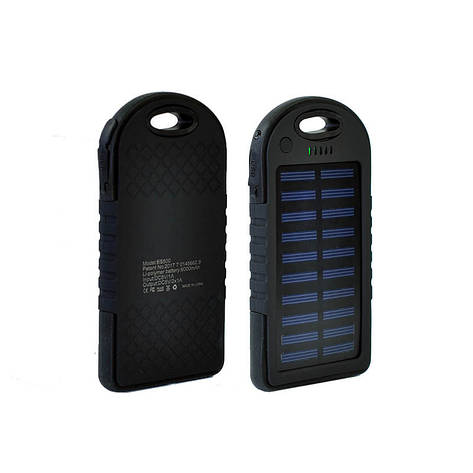 Power Bank Solar 2USB 6000 mAh Black, фото 2