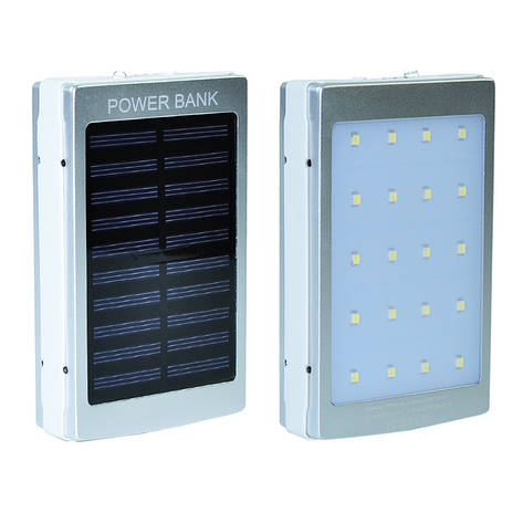 Power Bank Solar+LED 2USB 10000 mAh Silver, фото 2