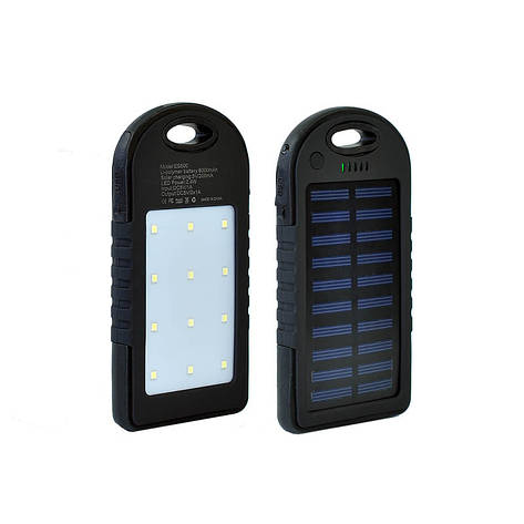 Power Bank Solar+LED 2USB 6000 mAh Black, фото 2