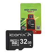 Карта памяти microSDHC 32Gb ICONIX (Class 10) + Adapter SD