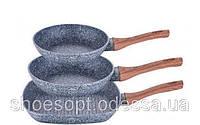 Набор сковородок 3шт классическая, гриль с мраморным покрытием, фото 1