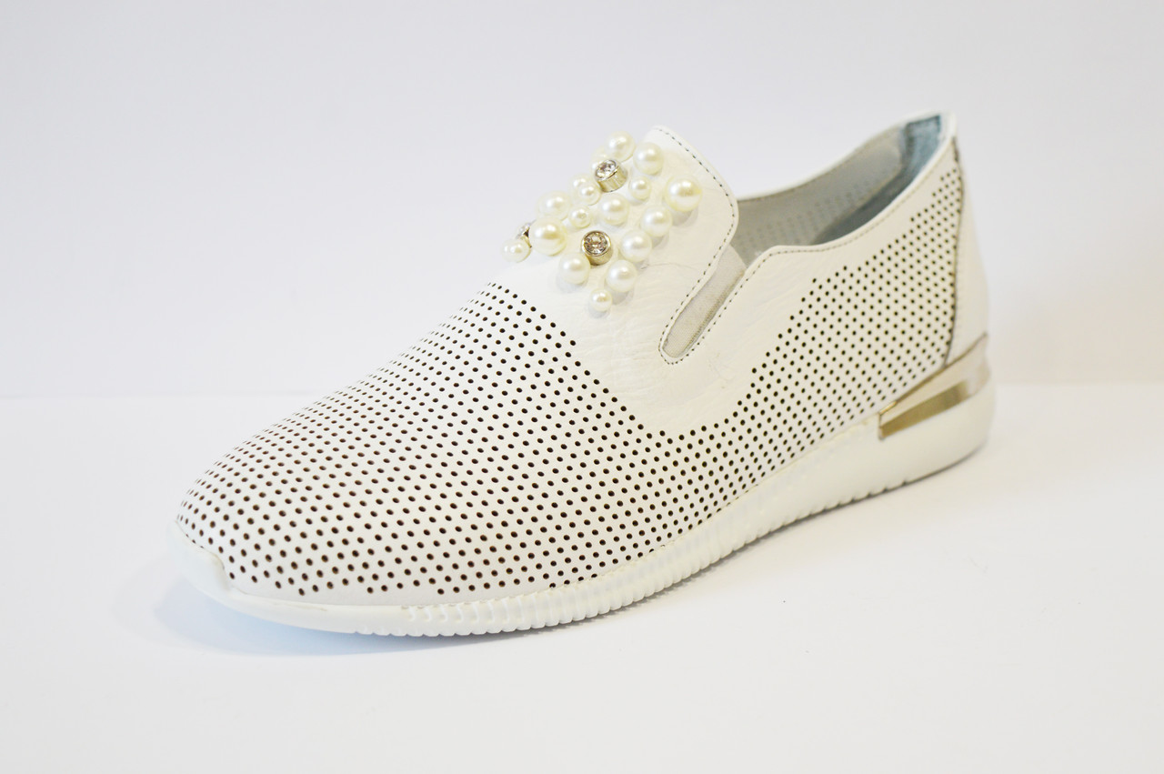 Слипоны белые кожаные Molly Bessa 03433
