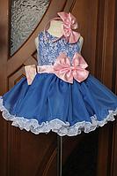 """Нарядное платье на девочку """" синие рюшики"""""""