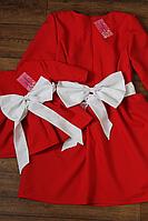 """Повседневно - нарядное платье """"Милана"""" с белым поясом и бантом family look"""