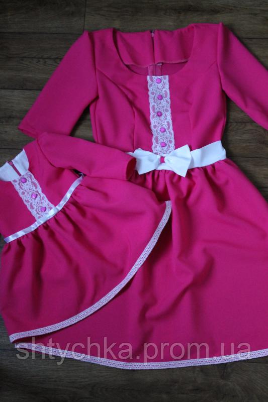 """Повседневно-нарядное, малиновое  платье """"Елизавета"""" family look"""