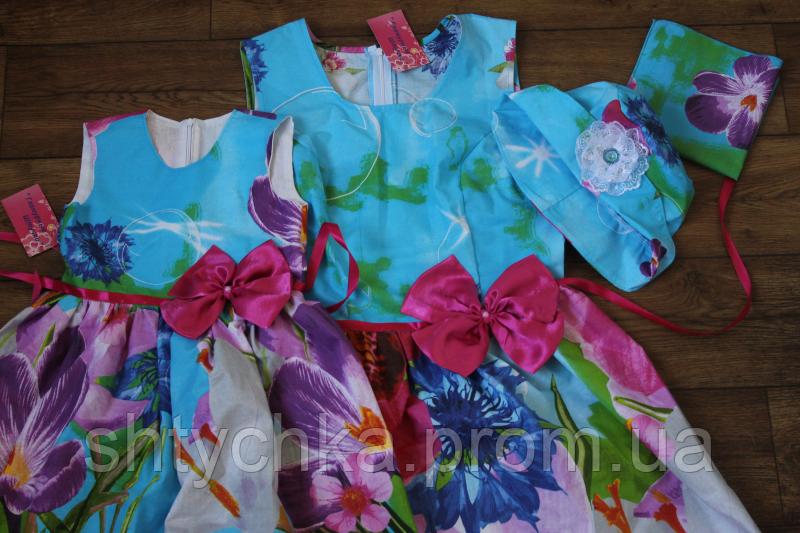 """Платья """"Мама - дочка орхидеи с малиновыми бантами"""" family look"""