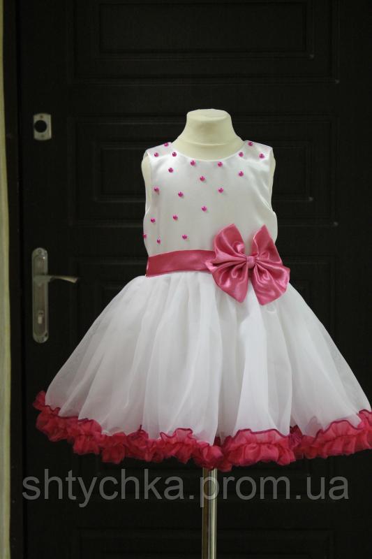 """Нарядное платье """"Феерия"""" белое с малиновыми рюшами"""